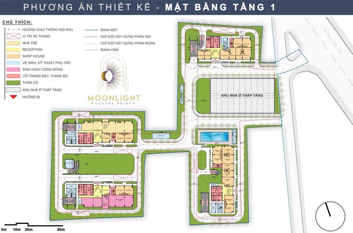 Mat bang Tang 1 Du an Moonlight Centre Point Binh Tan